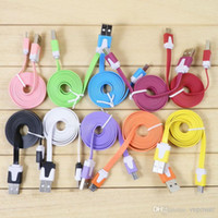 For Apple iPhone   1M 3FT Micro USB Sync Data Charger Cable Flat Noodle Cables Cords For Samsung Galaxy S5 S4 S3 S2 Note 3 2 HTC LG Sony Cell Phone