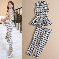 Wholesale High Quality Women s Clothing Set Spring And Summer Black And White Plaid Printed Ruffle Top And Pencil Pants Suit