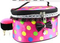 Wholesale Fashion Cosmetic Bags Dots Lace Bowknot Makeup Bag Cases Large Capacity Portable Storage Bags handbag mirror Wash gargle bag