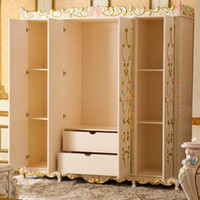 Wholesale 2014 hand made Luxurious European French furniture solid wood four whole wardrobe wardrobe painte carving gold foild ship by sea