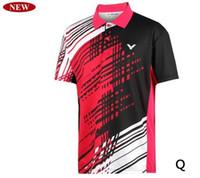 Wholesale Men Tops Lapel T shirts Victor men s table tennis badminton T shirt