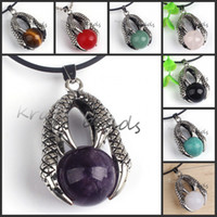 beaded necklace design - archaize Dragon Claw Different design Round Stone Beads Pendant Jewelry for Necklace