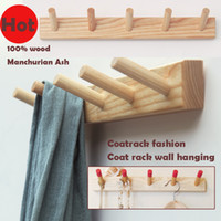 Wholesale Special Modern minimalist fashion wall hangers coat racks of Fraxinus mandshurica solid wood furniture products wooden wardrobe