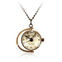Women's Round Analog Vine Retro Bronze Ball Pocket Watch Mechanical Quartz Watches Glass Necklace Pendant Chain