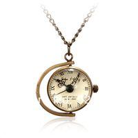 Cheap Vintage Retro Bronze Ball Pocket Watch Mechanical Quartz Watches Glass Necklace Pendant Chain