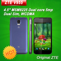 Dual Core Android 35Phone Original ZTE V955 4.5'' MSM8225 Dual Core Mobile Phone Android 4.0 Dual SIM WCDMA GPS Russian Multi Language Free Shipping