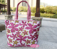 Wholesale Canvas handbag hand carry packet lunch bag striped oxford women lady flower handbags