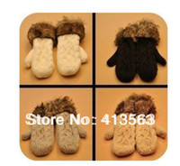 Wholesale colors Hang Neck Winter Mittens Knitted Warm Fur Gloves for Women Dropshipping