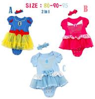 Girl Summer 100% Cotton Free Shipping Summer Baby Girls Cartoon Snow White One-Piece Romper Headband Princess Romper Infant Toddler Kids Children's Jumpsuit Cotton