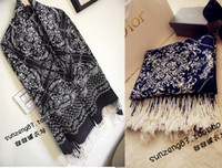 Wholesale Artificial wool cashmere scarf blue and white porcelain tassel national trend print vintage cape muffler scarf