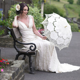 Wholesale Handmade Pure Cotton Lace Embroidery Ladies Parasol Bridal Wedding Umbrella and hand fan in a set set