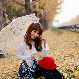 Wholesale Pure Cotton Lace Embroidery Ladies Parasol Bridal Wedding Umbrella and hand fan black mlk white white color to choose