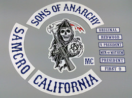 Wholesale Hot Selling Sons of Anarchy Embroidery twill Patches for Jacket Biker Full Size and Full Set