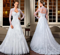 Wholesale 2014 Custom Made Sweetheart Lace Applique A Line Wedding Dresses With A High Neck Sheer Long Sleeve Jacket Court Train Lace up Bridal Gowns