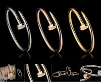 Wholesale MIN ORDER IS K GOLD PLATED CELEBRITY DESIGN STYLE ROSE GOLD SILVER PLATED NAIL BANGLE BRACELET FOR WOMEN TITANIUM STEEL