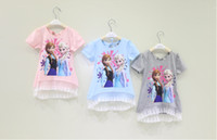 Wholesale Hot Sell Summer Girls Frozen Short Sleeve Splice Lace Tshirt Kids Clothing Back Bow Gauze Tops Snow Queen Elas Anna Children Tee Shirt H0771