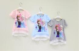 Wholesale Hot Sell Summer Girls Frozen Short Sleeve Splice Lace Tshirt Kids Clothing Back Bow Gauze Tops Snow Queen Elas Anna Children Tee Shirt H0771
