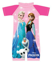 Wholesale New Summer New Children Girls Swimwear Frozen Elsa Anna Olaf Short Sleeve Splicing Swimsuit Kids Childs One Piece Swimming Suit G0427