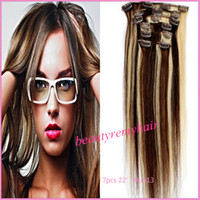 Brazilian Hair #1B#2#4#6#8#60#613  we can customize the texture you need  Mixed Color 4 613 hair ClipIn Hair Extensions 100% Brazilian Remy HumanHair Extensions 16''--28'' 7pieces set 3sets lot DHL Free Shippin