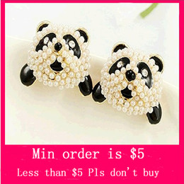 Wholesale Min Order Mix Jewelry order Betsey Johnson GP Pearl Panda Head Post Stud Earrings with Tags E0046