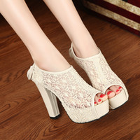 Unisex Spool Heel PU 2014 spring new fashion cutout lace open toe thick platform summer sandals Cool ultra high-heeled tassel party dress shoes cheap