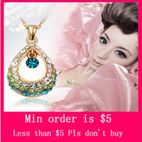 Women's angel stones - Min Order Mix Jewelry order N0047 Angel Crystal Tears Hollow Rhinestone Color Stone Water Droplets Necklace colors