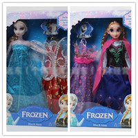 Wholesale EMS Free Top Selling Frozen Dolls Elsa Anna Girls Toys Kids Girl Snow Princess Figure Toy In Box Movable Clothes Gift Children Doll H0773