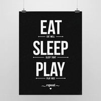 One Panel Digital printing Fashion Light Art Picture Saying Eat Sleep Play Black Artwork Modern Minimalist Typography Pop Poster Print Kids Room Wall Quote DIY Canvas Painting