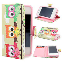 Cheap Wallet 3D Owl Pattern Stand Leather Flip Skin Case Cover For Apple iPhone 4 4S 5 5S