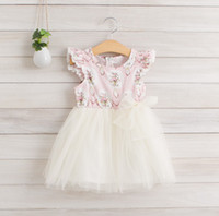 little girls dresses - New Arrival Summer Children Girls Dressing Little Sleeve Bowknot Printing Stripe Lace Lovely Child Clothing Kids Girl Dressy G0430