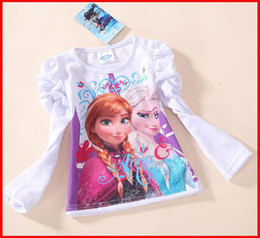 Wholesale 2014 hot sale autumn girls clothing brand new frozen children long sleeve T shirt kids lovely white tops cotton tunic leisure tees
