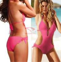 Women Bikinis Pure Colour 2014 New Sexy elegant multicolor one-piece swimming suit Bikini elastic Bathing Suits For Women swimwear Large size swimsuit TY12