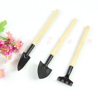 Wholesale 1Set Mini Garden Tools Shovel Rake Spade Wood Handle Metal Head Kids Tool