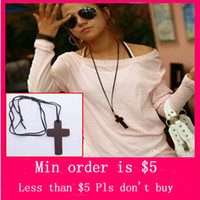 wooden cross necklace - Min Order Mix Jewelry order Unisex Retro Wooden Cross Necklace Pendant Leather Rope Strap Sweater Chain N0007