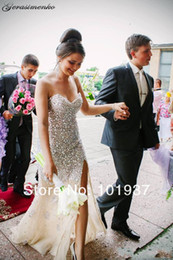 Wholesale 2015 Sweetheart Crystal Mermaid Wedding Dresses Sexy Sleeveless Beaded Backless Side Slit Crystals Top Cheap Evening Party Dresses BL023