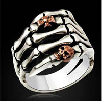 Wholesale 925 sterling silver ring cross decoration wide Restore ancient ways the palm skull ring