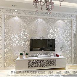 Wholesale Simple European style wallpaper roll broom leaf embossed PVC waterproof wallpaper d bedroom living room TV backdrop wallpaper