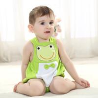 Wholesale New Fashion Summer Baby Boys Kids Children Panda Frog Cat Monkey Animal Pumpkin Design Pattern Backpack Triangle Jumpsuit Romper Overall