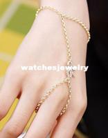 Bracelet,Earrings & Necklace Women's Party WOMEN GOLD THIN METAL FASHION HAND CHAIN BRACELET WRIST TO SLAVE RING MIDI BOW RIBBON KNOT
