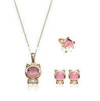 Women's artificial pearl earrings - Hot sale jewelry set Jewelry Pendant Necklace Earring Jewelry ring Set Cut Cat Artificial Pearl Gold Plated Jewelry For Women