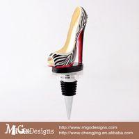 Wholesale Economic stainless steel Elegant zebra stripe high heel shaped Red Wine Bottle Stopper Red Wine stopper
