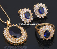 Wholesale Oval K Gold Plated Earring Necklace Jewelry Set Ring Blue Topaz Crystal Health Nickel amp Lead free Sz JS076