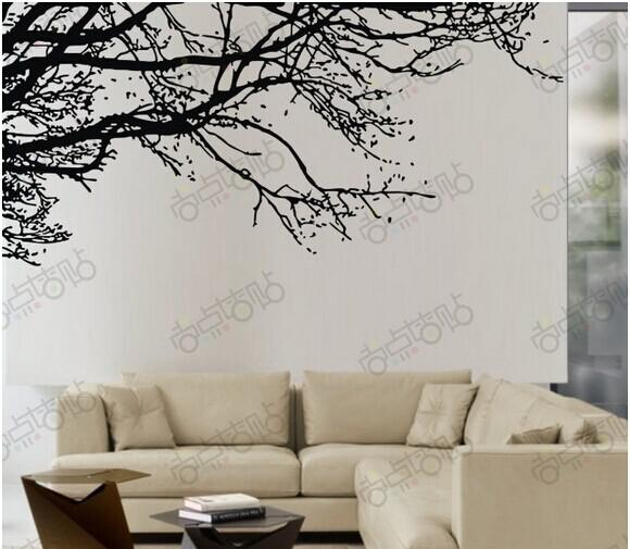 Black tree branch wall sticker diy art vinyl wall stickers for Black tree mural