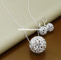 Wholesale trendy jewelry Sterling Silver jewelry silver necklace earrings jewelry set promotion