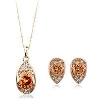 Bracelet,Earrings & Necklace apple austria - 100 Austria Zircon Italina Red Apple K Gold Plated Jewelry Set