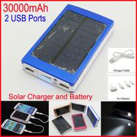 оптовых портативное зарядное устройство панель солнечной батареи-Dual USB солнечной Зарядное большой емкости 30000mAh Портативный солнечной энергии панели зарядное устройство банк питания для мобильного телефона PAD Tablet MP4 ноутбука