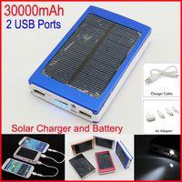 achat en gros de ordinateur portable-Dual USB solaire chargeurs de batterie haute capacité 30000mAh Portable Solar Energy Panneau Chargeur Power Bank For Mobile Phone Pad Tablet MP4 Ordinateur portable