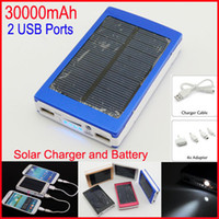 0-20 W solar cells - Dual USB Solar Battery Chargers High Capacity mAh Portable Solar Energy Panel Charger Power Bank For Mobile Phone PAD Tablet MP4 Laptop
