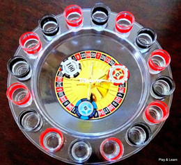 Wholesale Shot Glass Roulette Drinking Wine Set Adults Party Game Spinning Casino Wheel