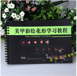 Wholesale nail painting flower tutorials painted flower shaped row of pens books Nail Tools Nail Workbook naill book